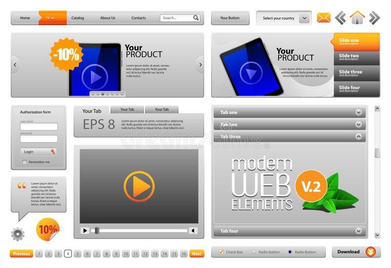 конструируйте вебсайт элементов серый самомоднейший