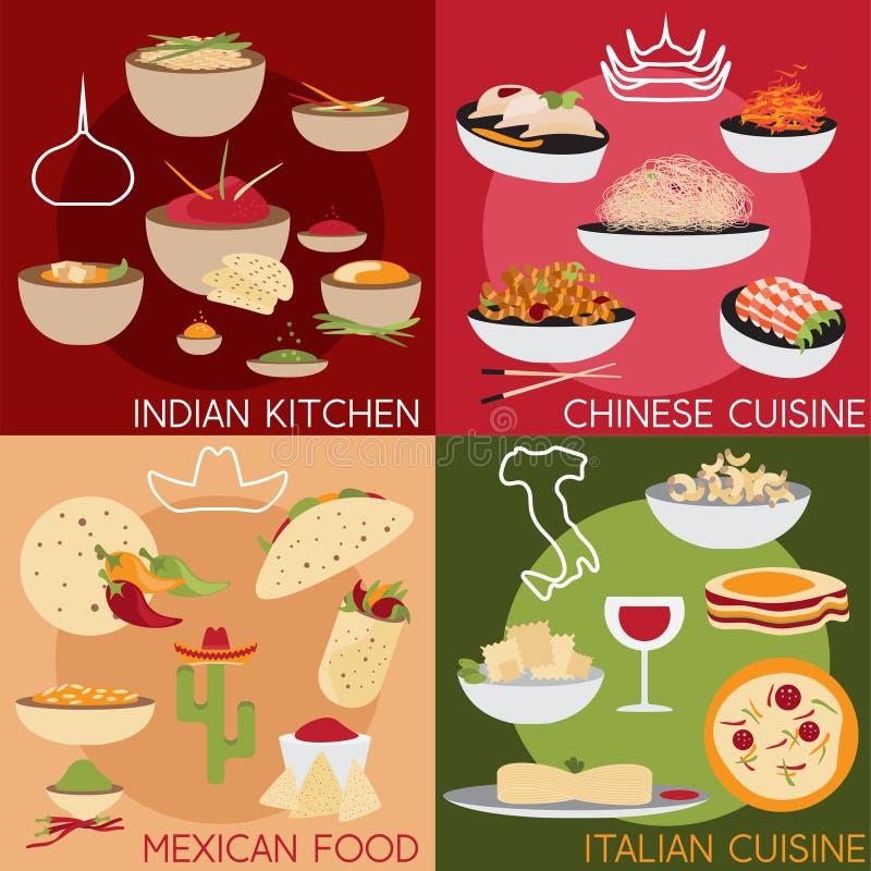 конструируйте знамена вектора с итальянкой, мексиканским китайцем и indi бесплатная иллюстрация