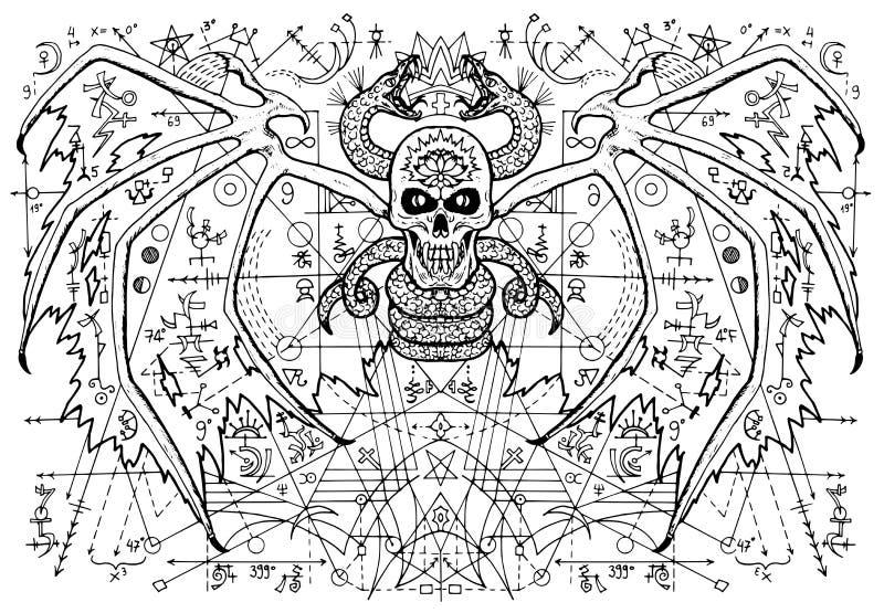 Конструируйте иллюстрацию с, который подогнали мистическим демоном против абстрактной предпосылки картины бесплатная иллюстрация