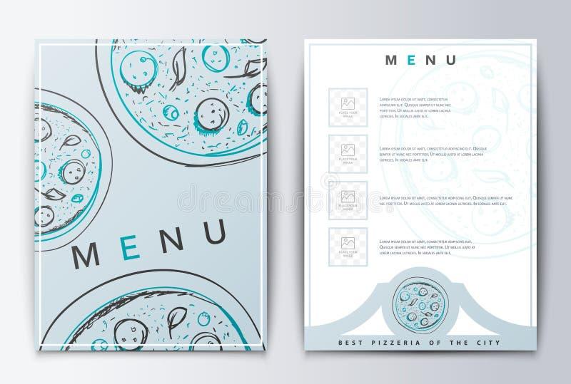 Конструируйте пиццу предпосылки меню для ресторана или кофе иллюстрация вектора