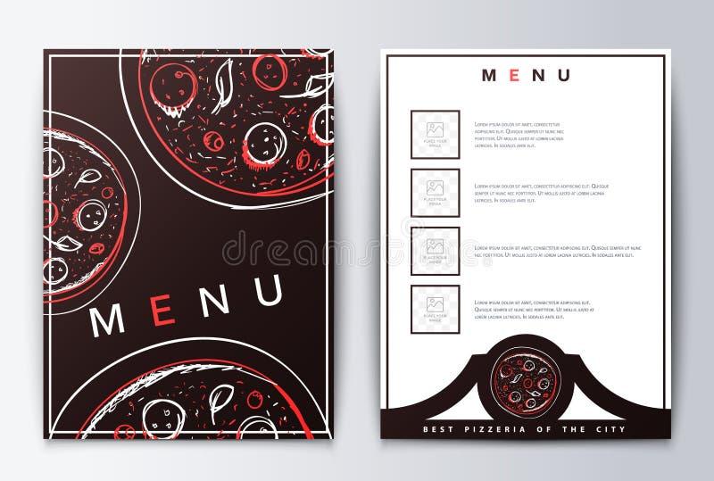 Конструируйте пиццу предпосылки меню для ресторана или кофе иллюстрация штока