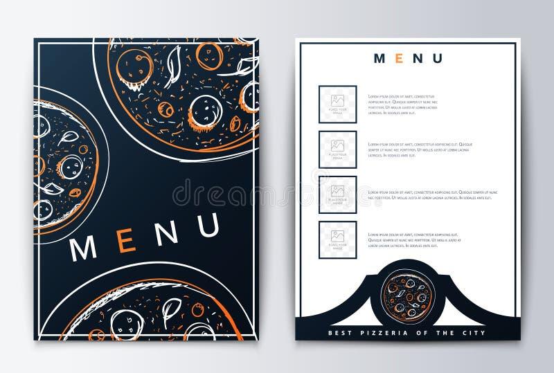 Конструируйте пиццу предпосылки меню для ресторана или кофе бесплатная иллюстрация