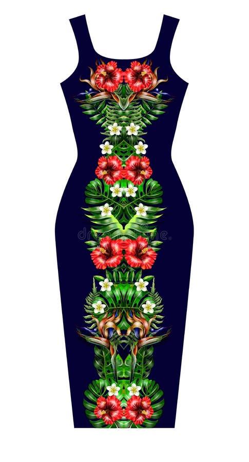 Конструируйте платье с цветками и листьями состава симметрии тропическими бесплатная иллюстрация