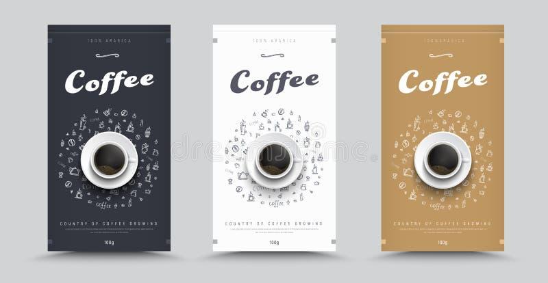 Конструируйте упаковывать для кофе с чертежами вручную и чашки c бесплатная иллюстрация