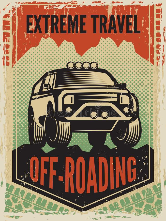 Конструируйте шаблон плаката в ретро стиле с автомобилем suv большим С машины дороги иллюстрация штока