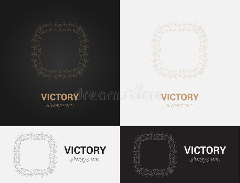 Конструируйте шаблоны в черных, серых и золотых цветах Творческий логотип мандалы, значок, эмблема, символ стоковое изображение