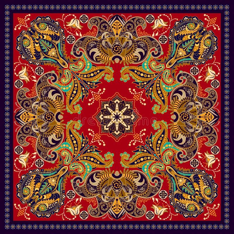 Конструируйте для квадратного карманн, шали, ткани Цветочный узор Пейсли бесплатная иллюстрация