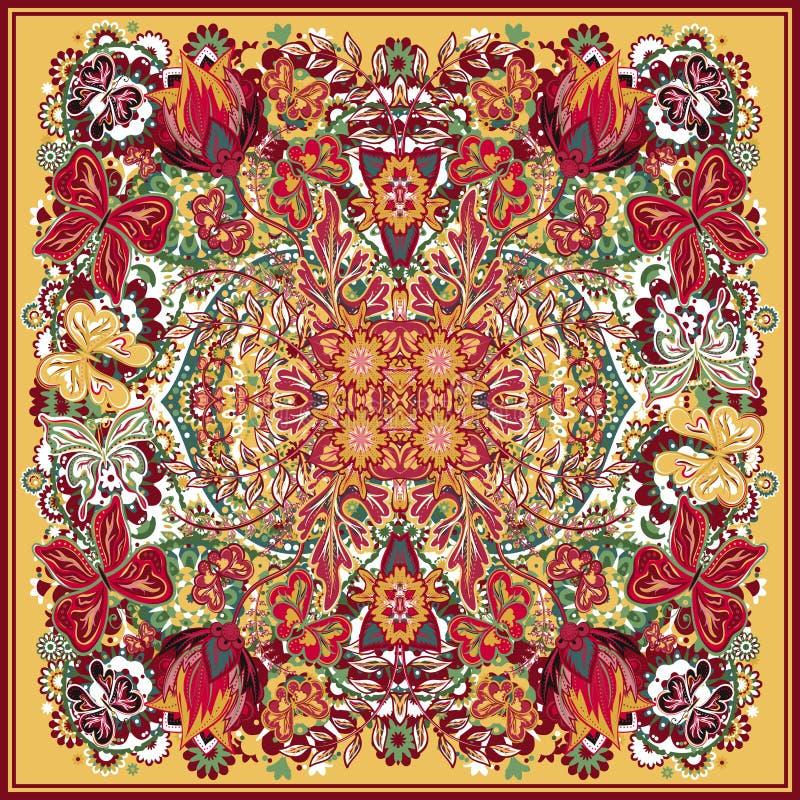 Конструируйте для квадратного карманн, шали, ткани, шарфа, подушки Красочный цветочный узор чертежа руки иллюстрация штока