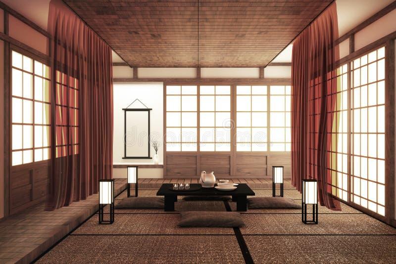 Конструирующ самую красивую насмешку вверх, конструированный специфически в японском стиле, пустая комната r иллюстрация штока