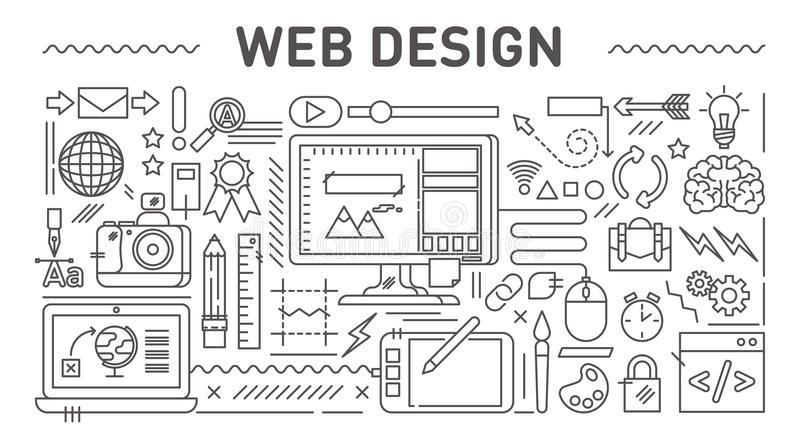 Конструктивная схема веб-дизайна, линия иллюстрация вектора стиля иллюстрация вектора