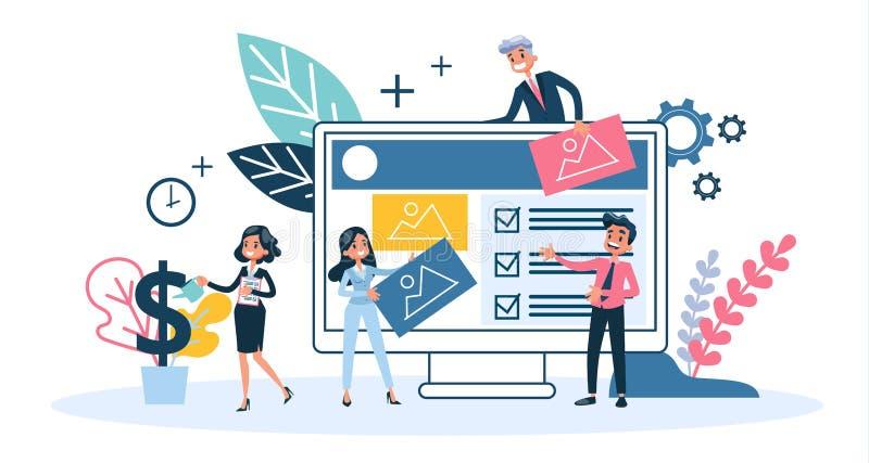 Конструктивная схема веб-дизайна Развитие вебсайта, программируя и делая отзывчивый бесплатная иллюстрация