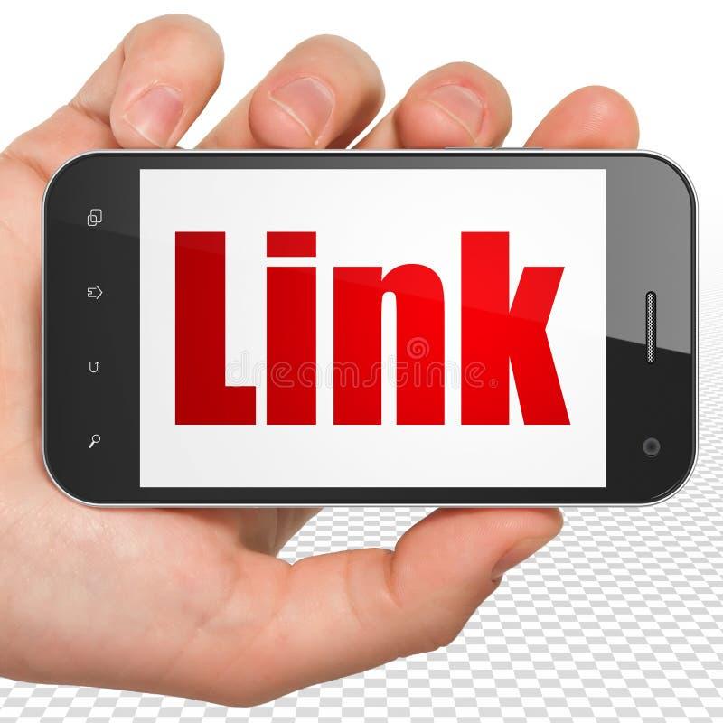 Конструктивная схема веб-дизайна: Рука держа Smartphone с связью на дисплее бесплатная иллюстрация