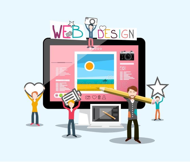Конструктивная схема веб-дизайна с график-дизайнером бесплатная иллюстрация