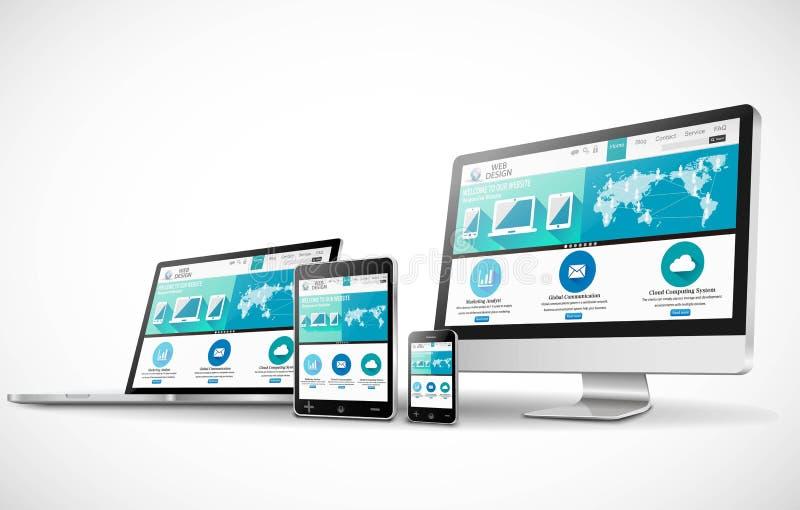 Конструктивная схема веб-дизайна с современным модель-макетом приборов