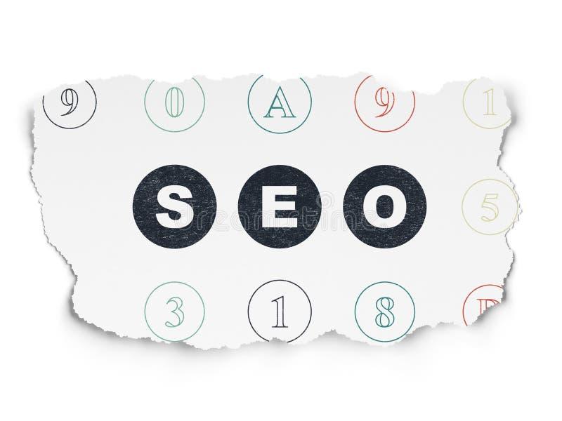 Конструктивная схема веб-дизайна: SEO на сорванной бумажной предпосылке бесплатная иллюстрация