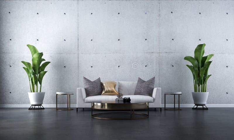 Конструктивная схема дизайна интерьера современной минимальной живущей комнаты и конкретной предпосылки стены текстуры стоковое изображение