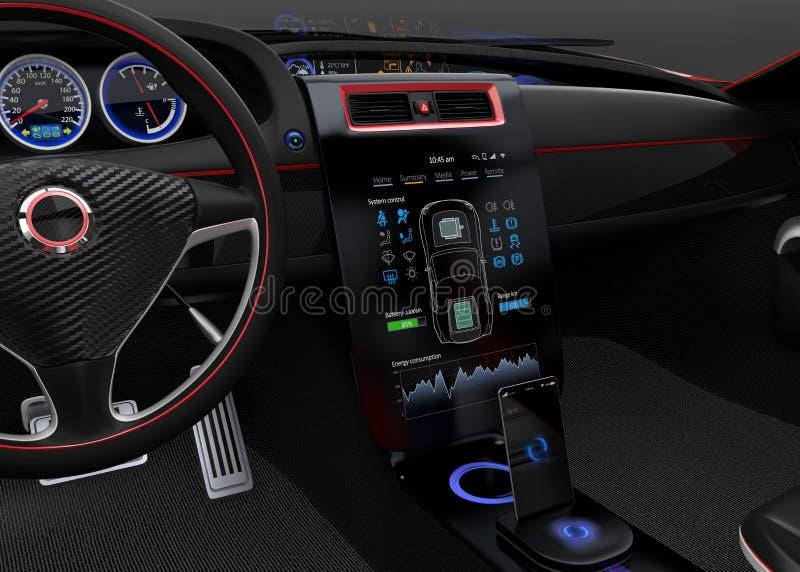 Конструктивная схема дизайна интерфейса мультимедиа электрического автомобиля бесплатная иллюстрация