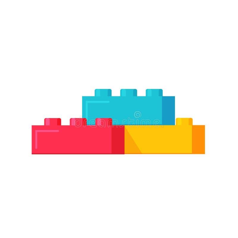 Конструктор блоков забавляется иллюстрация вектора, конструкция строительных блоков плоского шаржа пластичная или кирпичи забавля иллюстрация вектора