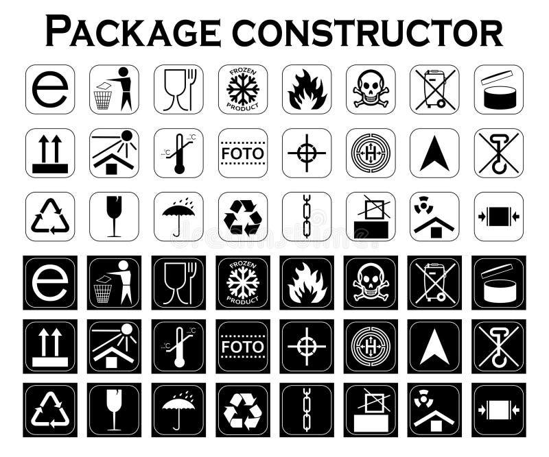 Конструктор пакета упаковывая символы Комплект значка иллюстрация вектора