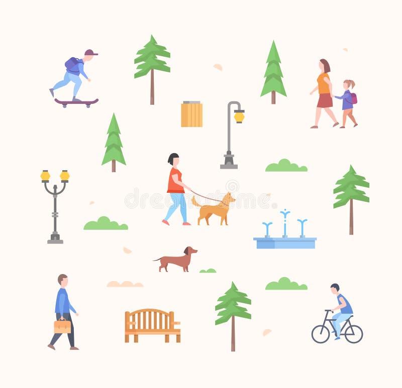 Конструктор парка города - комплект современных плоских элементов стиля дизайна бесплатная иллюстрация