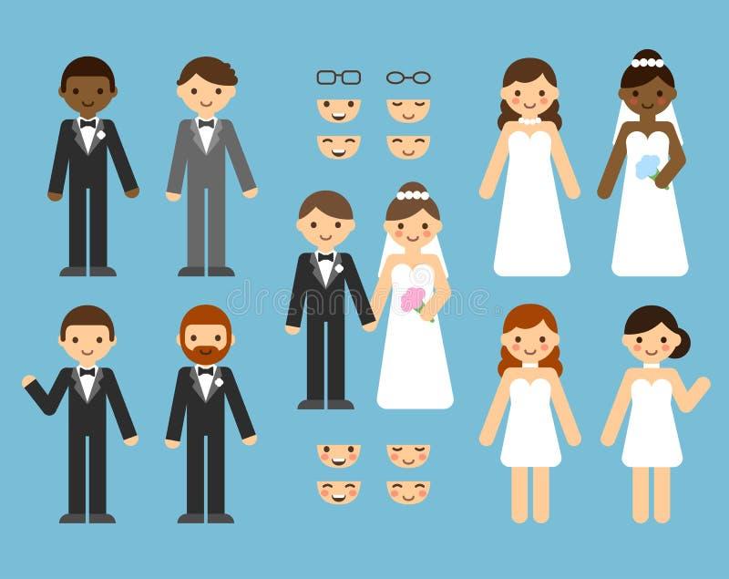 Конструктор пар свадьбы иллюстрация штока