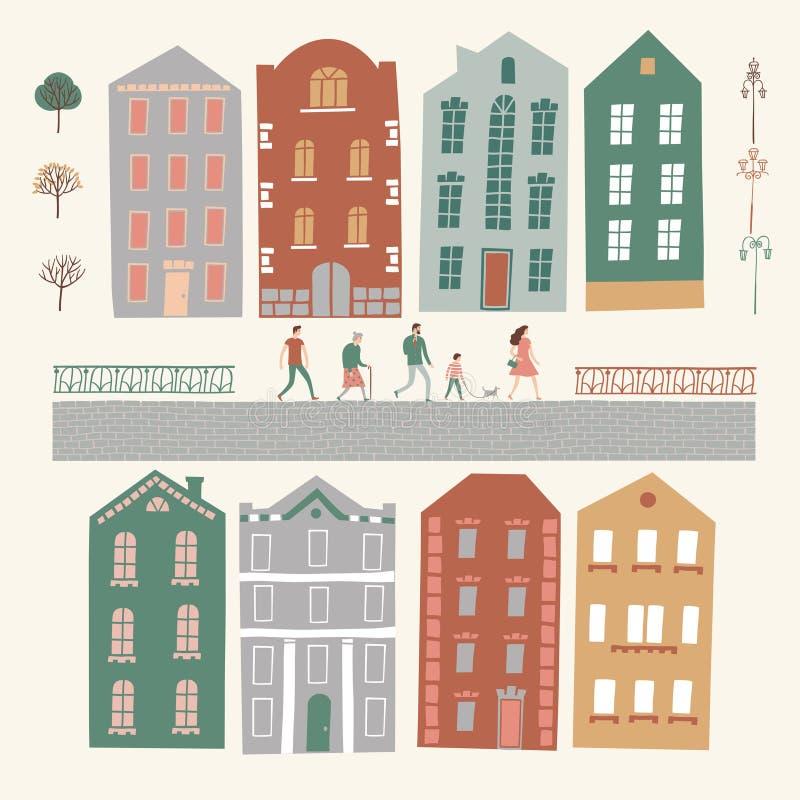 Конструктор с домами, люди города, деревья, фонарные столбы иллюстрация вектора