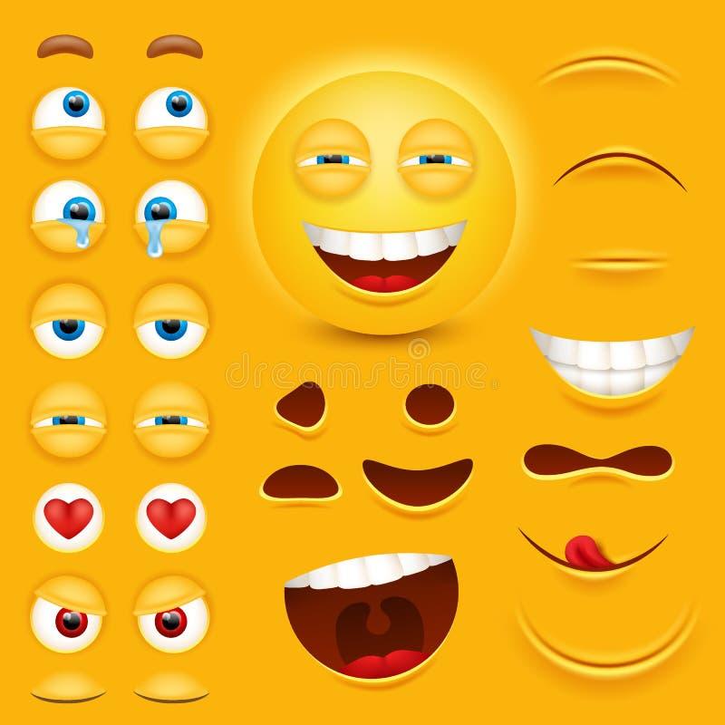 Конструктор творения характера вектора стороны smiley 3d шаржа желтый Emoji при установленные эмоции, глаза и mouthes иллюстрация штока