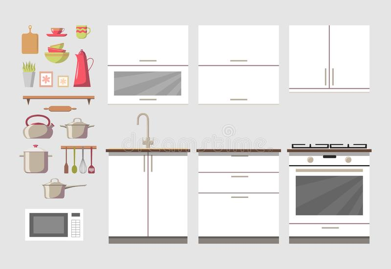 Конструктор уютной кухни внутренний с мебелью и электроникой: изолированные плита, кухонный шкаф, печь, утвари и блюда иллюстрация штока