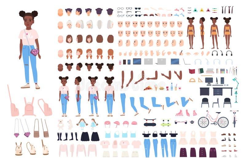Конструктор характера маленькой девочки Комплект творения девочки Различные позиции, стиль причёсок, сторона, ноги, руки, одежды бесплатная иллюстрация