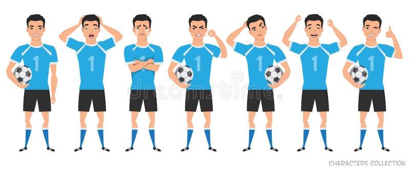 Конструктор характера футболиста позиции азиатского футболиста различные, установленные эмоции иллюстрация штока