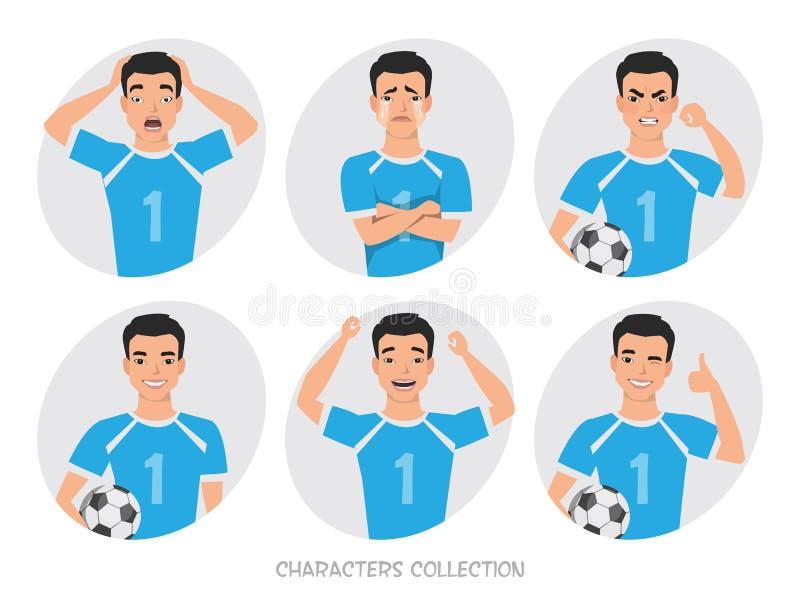 Конструктор характера футболиста позиции азиатского футболиста различные, установленные эмоции бесплатная иллюстрация