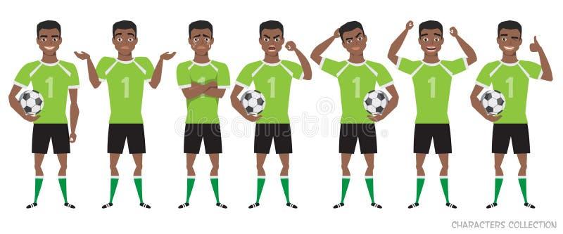 Конструктор характера футболиста позиции черного Афро-американского футболиста различные, установленные эмоции бесплатная иллюстрация