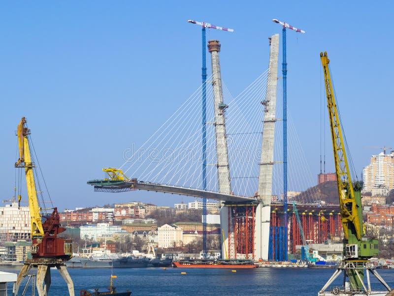 Конструкция большого guyed моста в русском Владивостоке стоковые фотографии rf