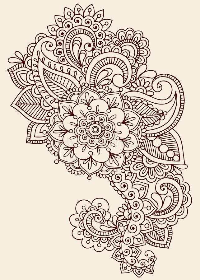 Конструкция вектора Doodle Mehndi Пейсли хны иллюстрация вектора