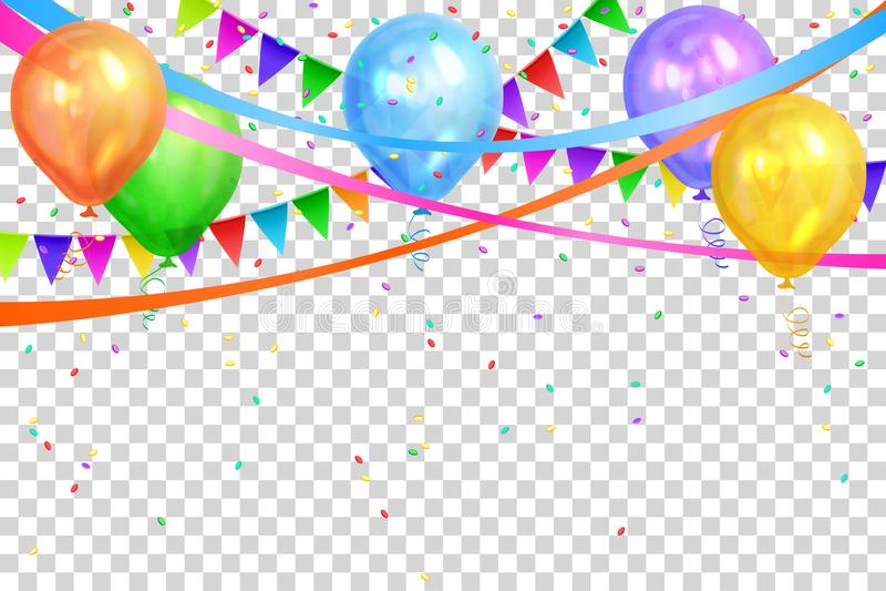 конструкция дня рождения счастливая Красочные воздушные шары и гирлянды флагов бесплатная иллюстрация