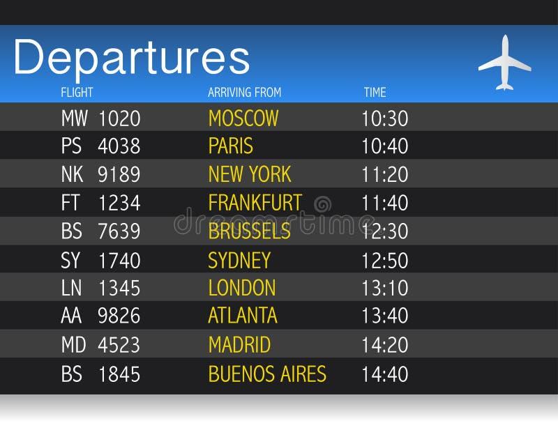 Конструкция иллюстрации таблицы отклонения времени авиапорта бесплатная иллюстрация