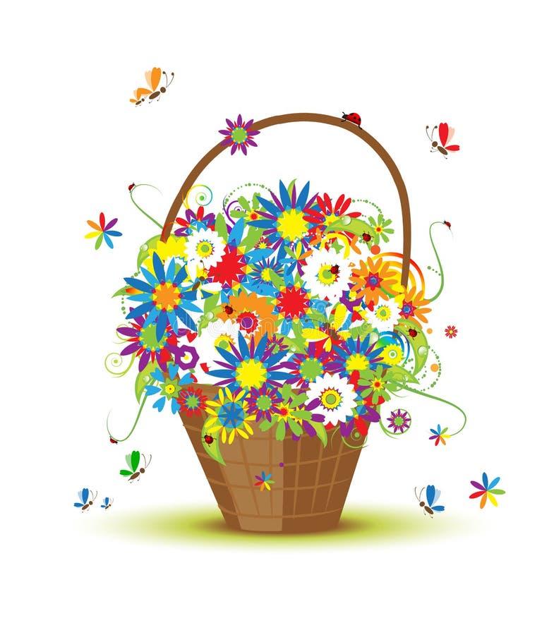 конструкция корзины цветет ваше иллюстрация штока