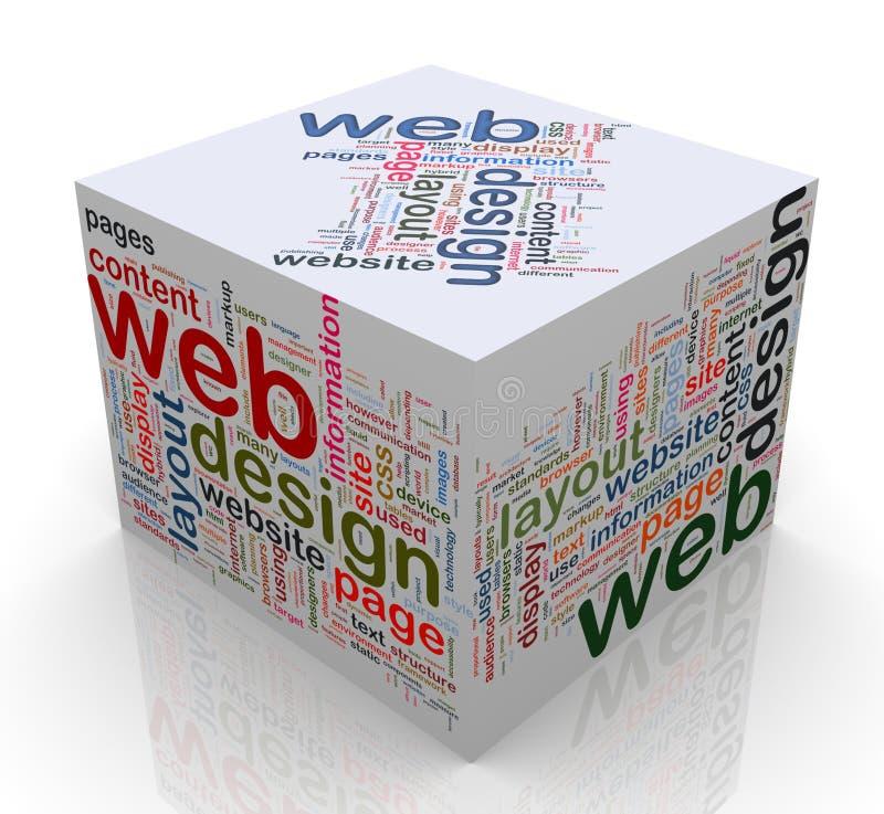 конструкция кубика 3d маркирует сеть иллюстрация вектора