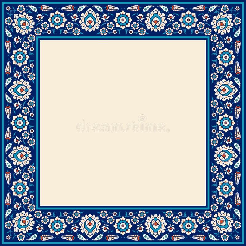 конструкция наслаждается флористической рамкой полно вашей Традиционный турецкий орнамент тахты ½ ¿ ï Iznik иллюстрация штока