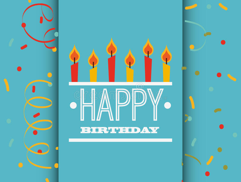 конструкция поздравительой открытки ко дню рождения счастливая иллюстрация штока
