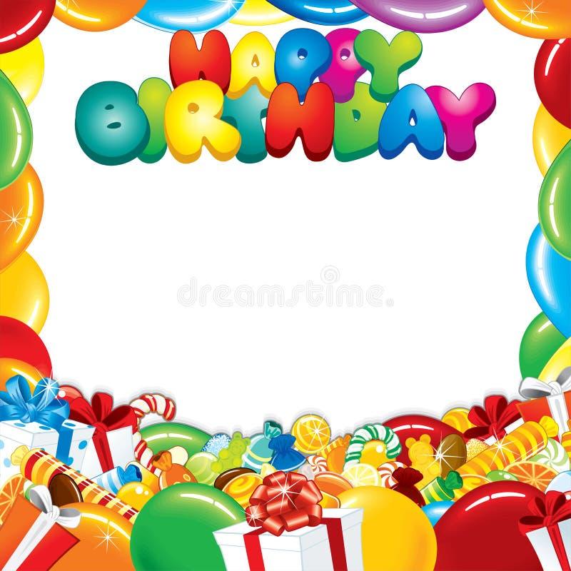конструкция поздравительой открытки ко дню рождения счастливая бесплатная иллюстрация