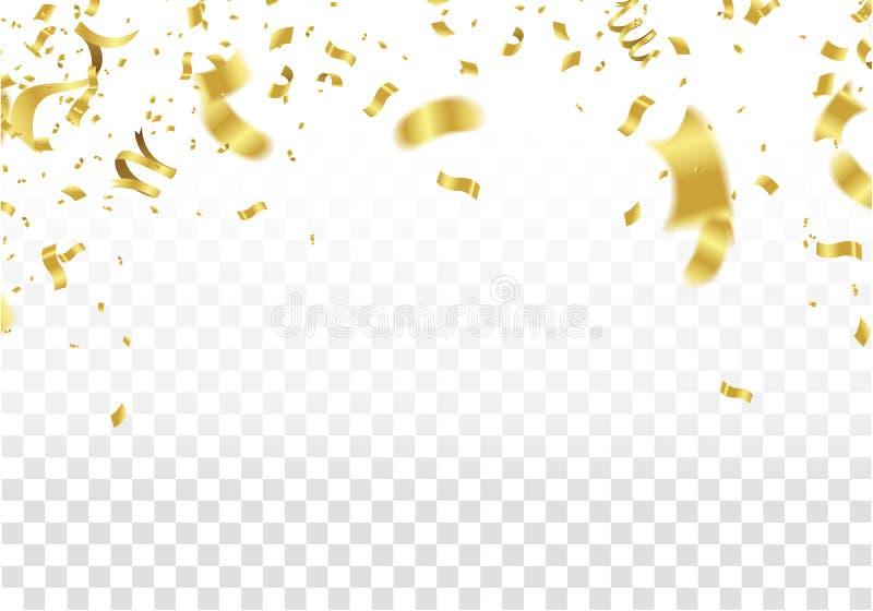 конструкция праздничная Граница золота красочного яркого изолированного confetti бесплатная иллюстрация
