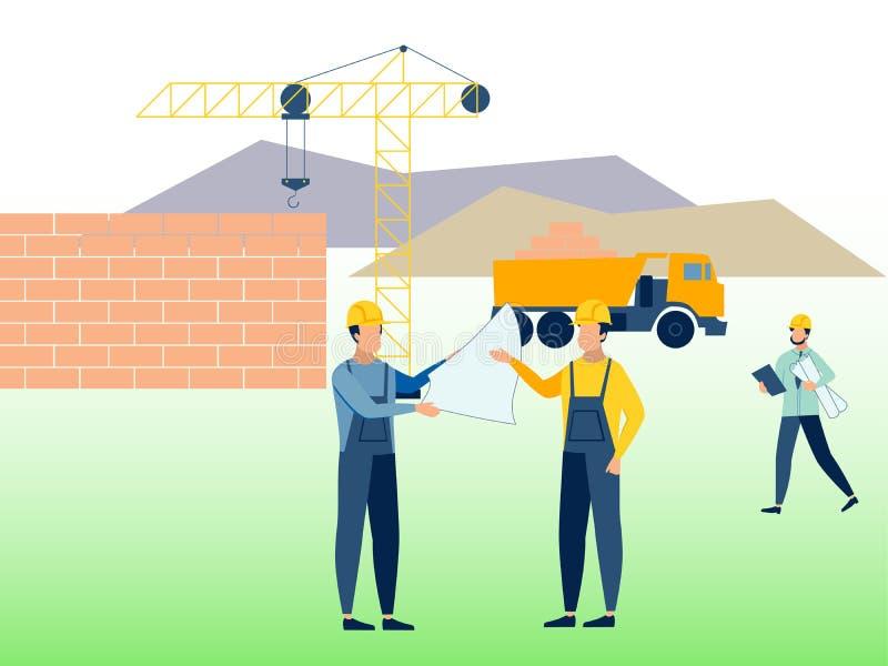 Конструкция, рабочая Среда Построители на работе В растре мультфильма минималистичного стиля плоском иллюстрация штока
