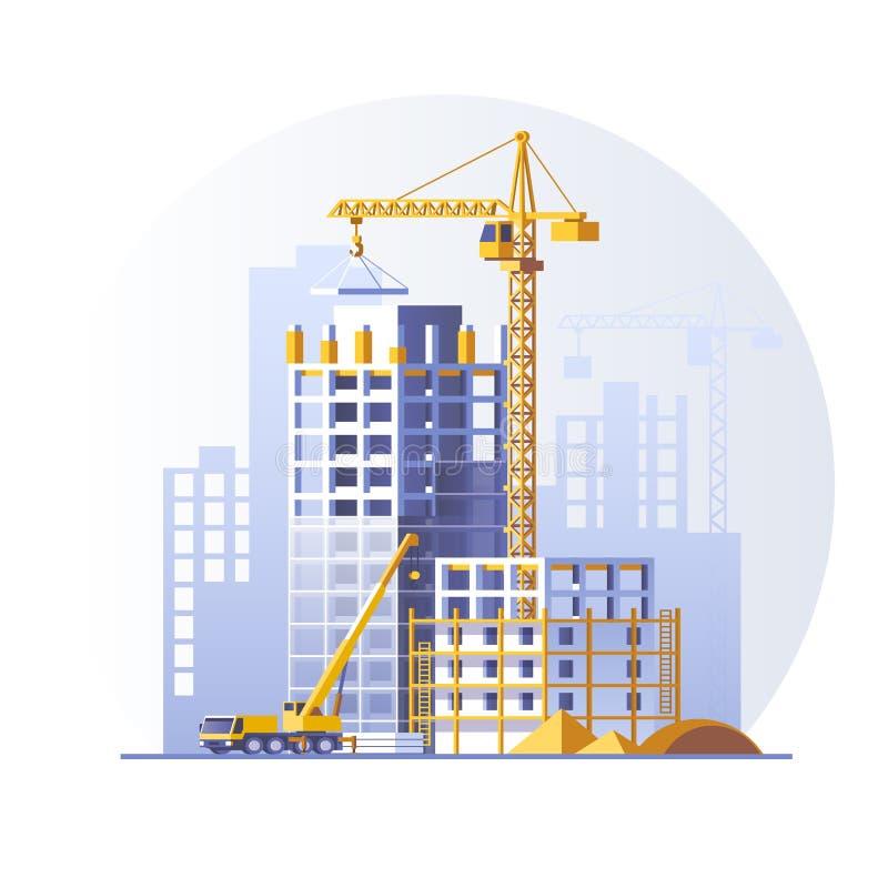 конструкция расквартировывает селитебное Дизайн концепции строительной площадки Плоская иллюстрация вектора стиля иллюстрация вектора