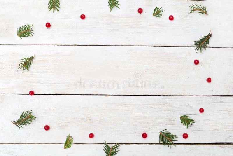 конструкция рождества предпосылок вы Зеленые ветви рождественской елки и красное vib стоковое фото