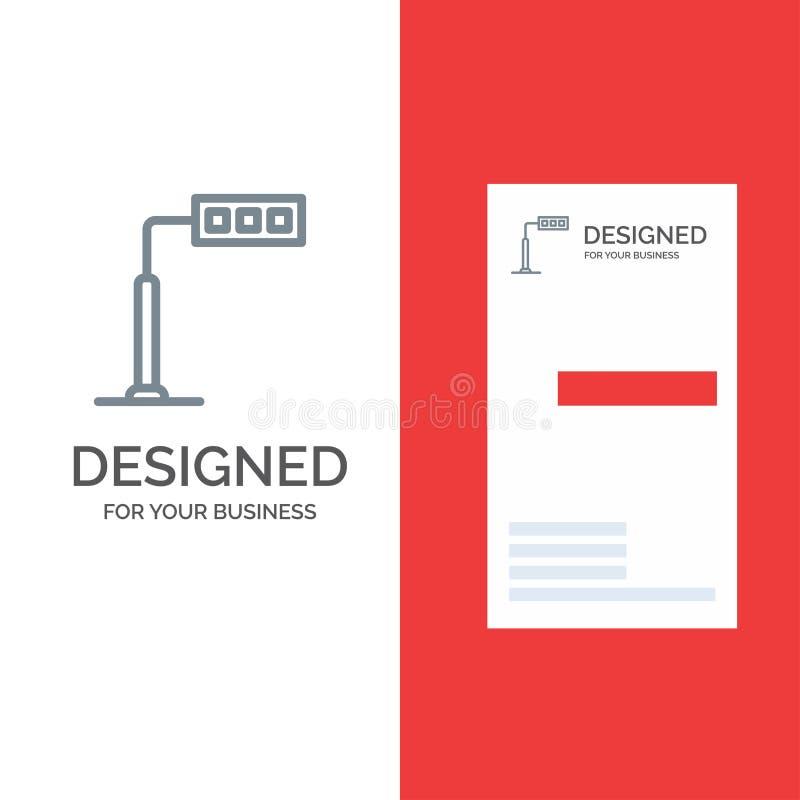Конструкция, свет, башня, дизайн логотипа дороги серые и шаблон визитной карточки иллюстрация штока