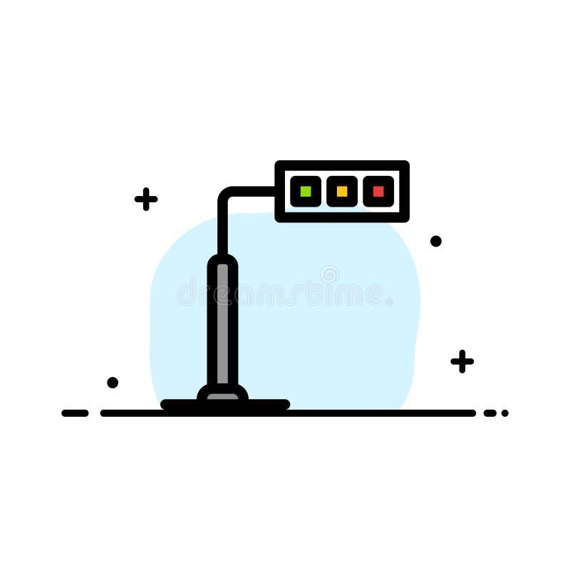 Конструкция, свет, башня, линия дела дороги плоская заполнила шаблон знамени вектора значка иллюстрация штока