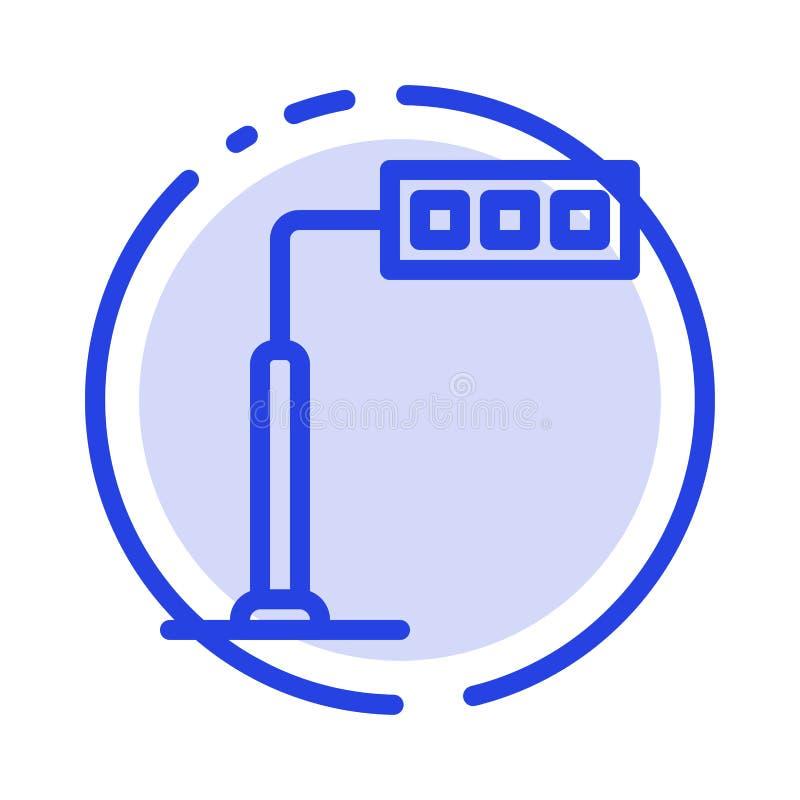 Конструкция, свет, башня, линия значок голубой пунктирной линии дороги иллюстрация вектора