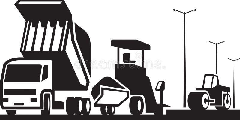 Конструкция улиц и шоссе дорог иллюстрация вектора