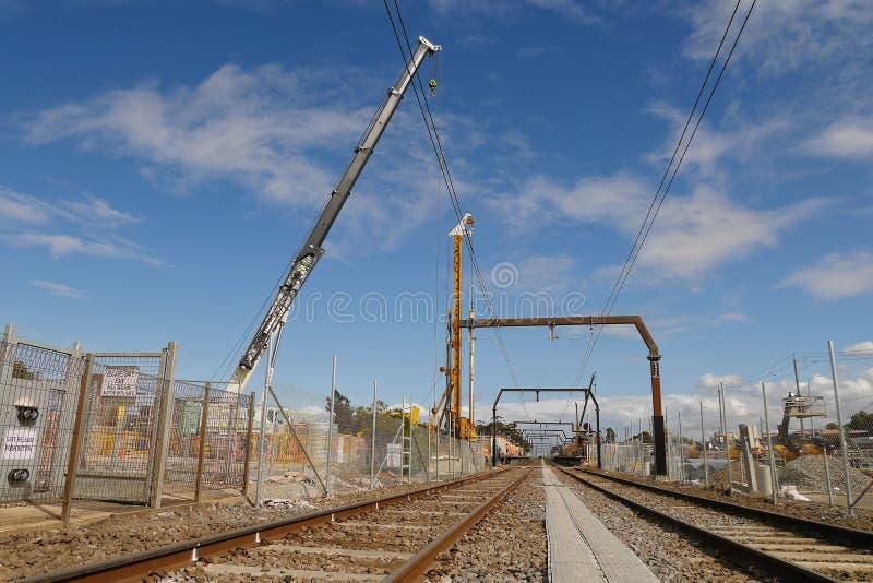 """Конструкция """"рельса неба """"на станции Виктория Австралии резервуара стоковая фотография rf"""
